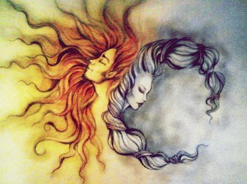 sun moon god goddess found on tumblr.com