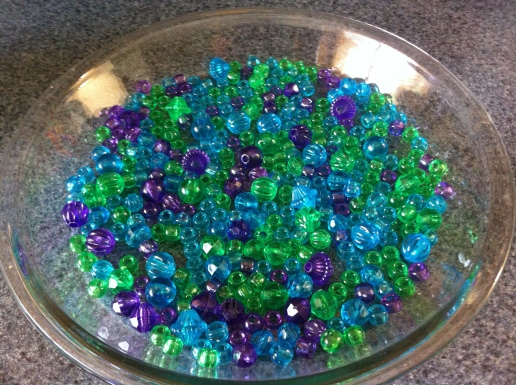 I am also using one of the good pie plates because I have way more stupid beads than I thought.