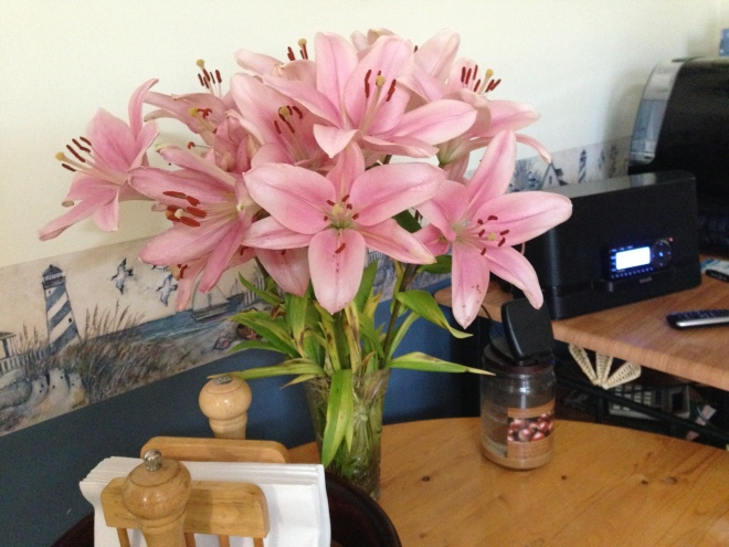 Asiatic Lily Bouquet, forced to listen to Satelite Radio and blooming madly anyway.