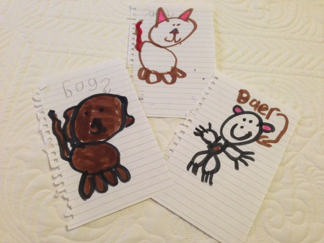 """Cat with a backwards """"c"""", a bog and a baer.  Not for sale.  Sorry."""