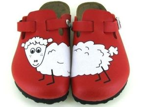 red sheep clogs