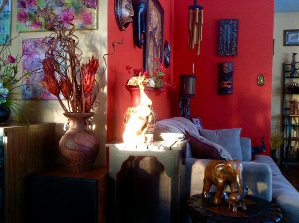 Sunshine on giraffe in my junky world.